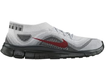 Nike Free Flyknit Pure Platinum/University Red-Wolf Grey-Dark Grey
