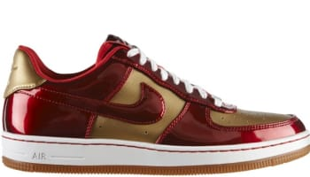 Nike Air Force 1 Low Downtown Leather QS Flat Gold/Varsity Red-Varsity Red