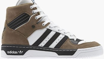adidas Originals Rivalry Hi Flat White/Carbon Black-Brown
