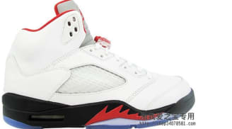 Air Jordan 5 Retro White/Fire Red-Black '13