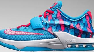Nike KD VII GS Clearwater/Blue Lagoon-White-Bright Crimson
