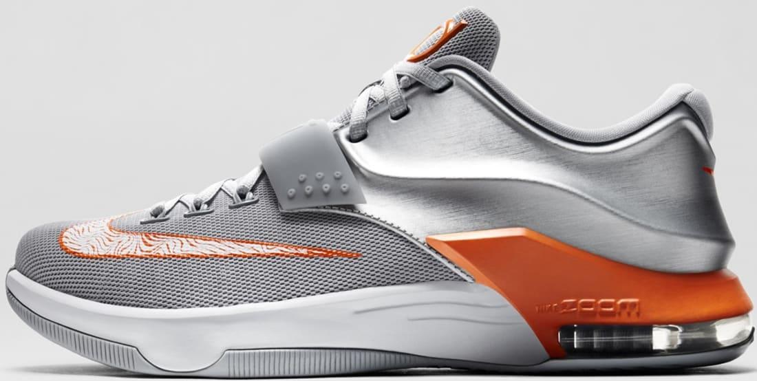 Nike KD VII Metallic Silver/Urban Orange-Wolf Grey