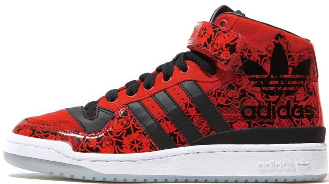 new concept e3e3a c1444 adidas Originals Forum Mid CNY Red Black-White