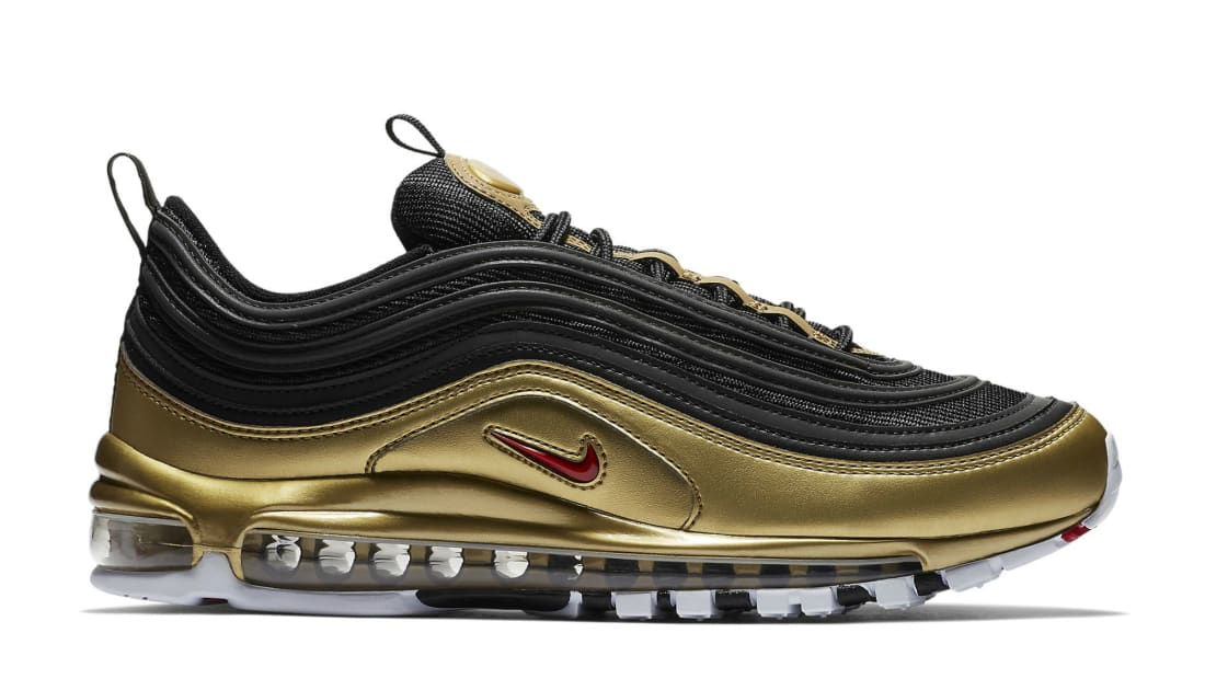 on sale 58db7 58f80 Nike Air Max 97 QS Black Varsity Red-Metallic Gold-White