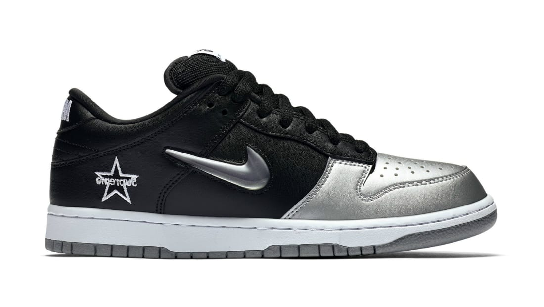Supreme x Nike SB Dunk Low Metallic Silver/Metallic Silver-Black