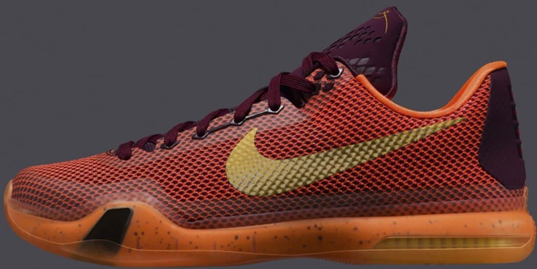 ac69e63d879 Nike · Nike Kobe · Nike Kobe 10 (X). Nike Kobe X Merlot Metallic Gold-Villain  Red-Total Orange
