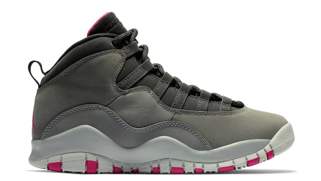Air Jordan 10 Retro GS Dark Smoke Grey Rush Pink-Black  a9b5723e2