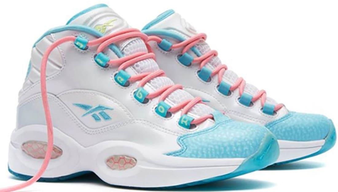 Reebok Question Mid Girls White/Hydro Blue-Light Pink-Lemon Zest