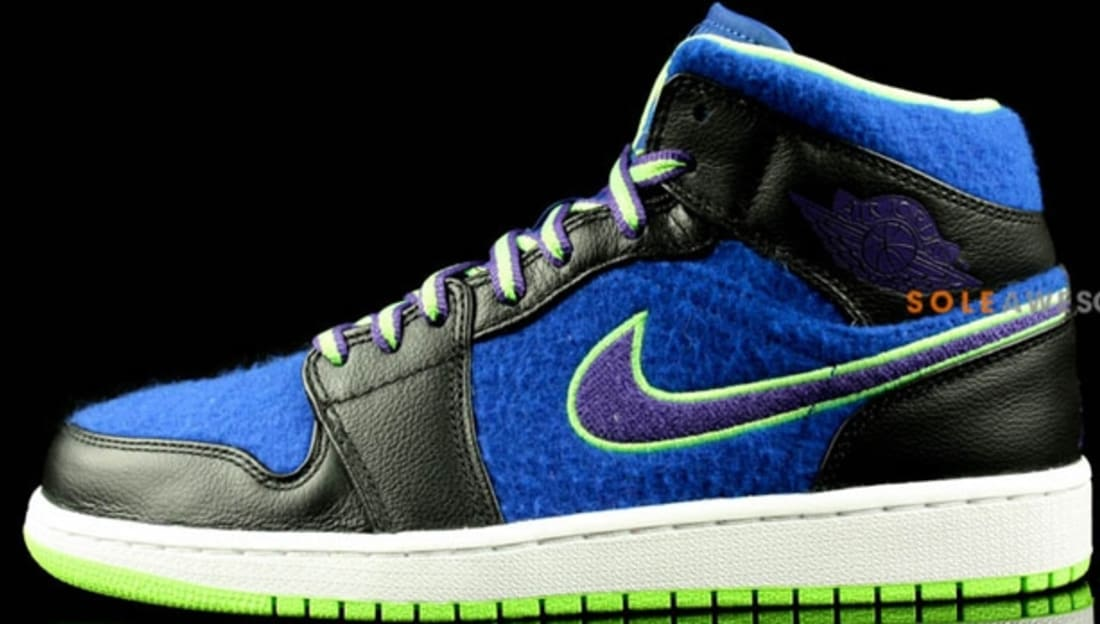 Air Jordan 1 Mid Wool Bel-Air Black Court Purple-Game Royal-Flash ... 67577d38a