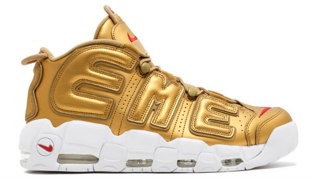 2017 Nike Air More Uptempo Supreme Metallic GoldWhite Best
