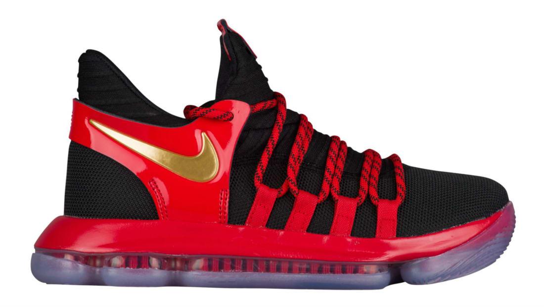 b0b3c9ded074 Nike KD 10 GS Black Metallic Gold-University Red -Bright Crimson ...