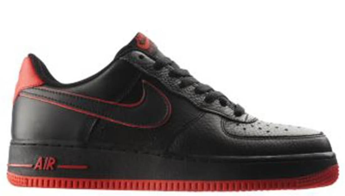 Nike Air Force 1 Low BlackBlack Action Red   Nike   Sole