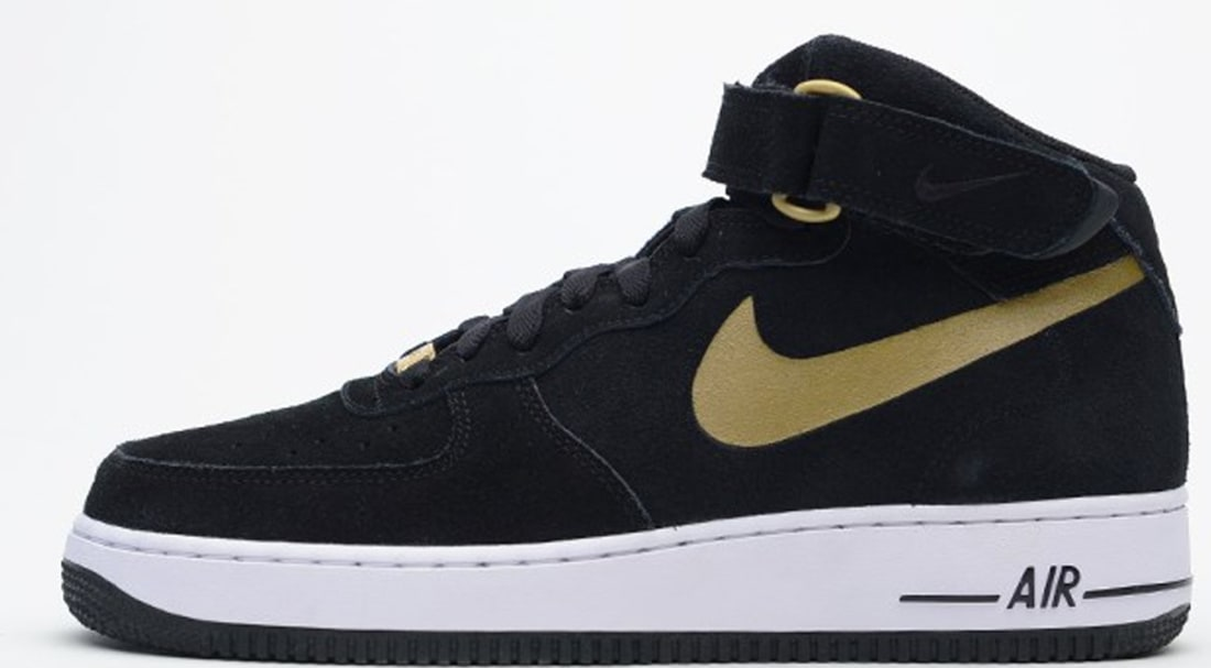 Nike Air Force 1 Mid Black Metallic Gold White Nike Sole Collector