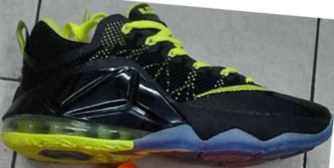 competitive price d829e a84bf Nike LeBron 12 Low Black Metallic Silver-Green Strike-Volt-Hot Lava