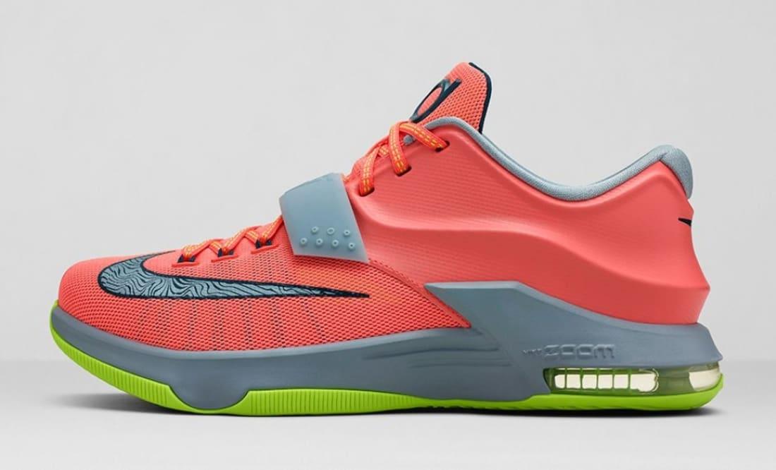 8370805f2ece Nike · Nike KD · Nike KD 7 (VII). Nike KD VII Bright Mango Space Blue-Light  Magnet Grey-Volt