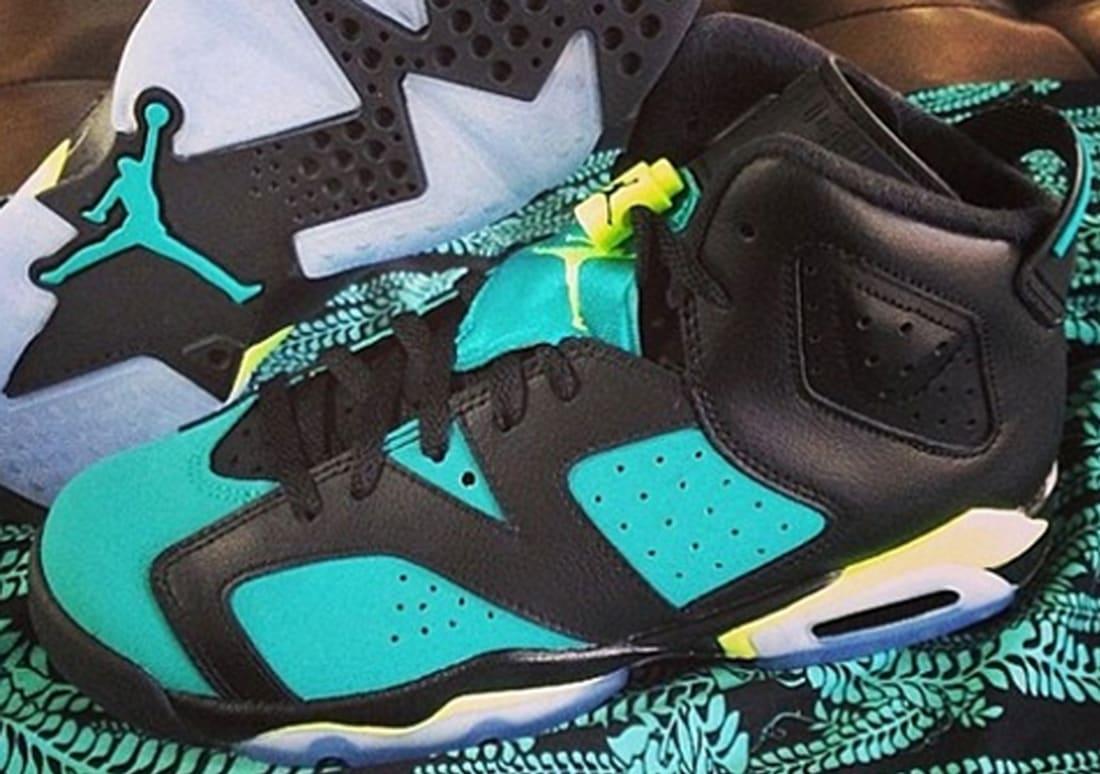 Air Jordan 6 Retro Girls Black/Volt Ice-Turbo Green-Black