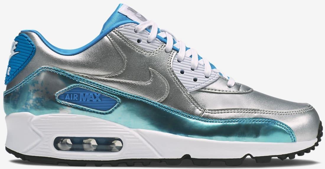 Nike Air Max '90 Premium Women's Metallic Silver/Clearwater-Light Blue Lacquer-White