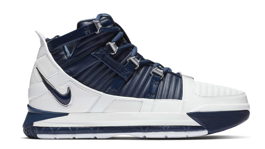 9b84fa88dc9e9 Nike Zoom LeBron 3 White Navy Blue-Silver