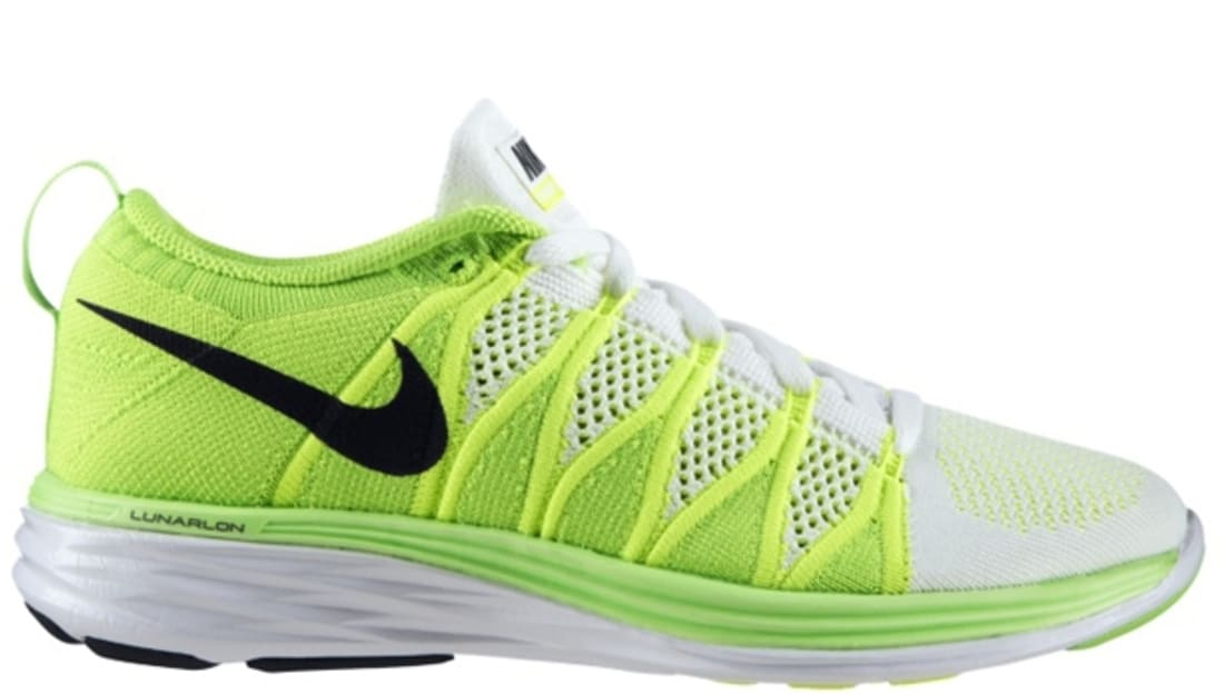 Nike Flyknit Lunar2 Women's White/Black-Volt-Electric Green