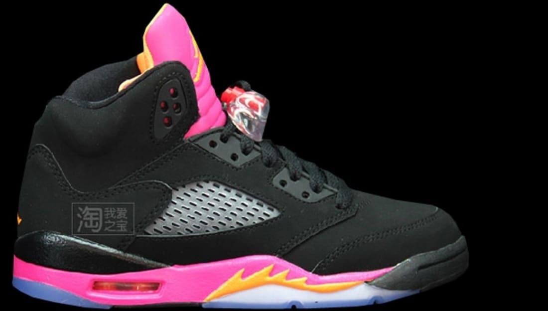 Girls Air Jordan 5 Retro GS Black/Bright Citrus-Fusion Pink