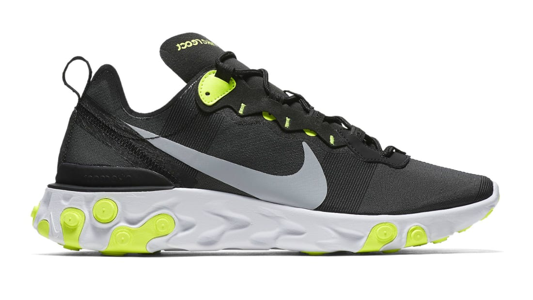 check out 4f570 5a6a4 Nike React Element 55 Black Wolf Grey Volt White