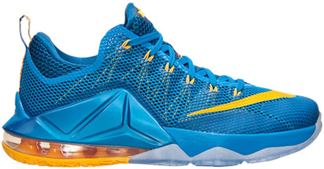 b907943e2596 Nike LeBron 12 Low Photo Blue University Gold-Gym Blue