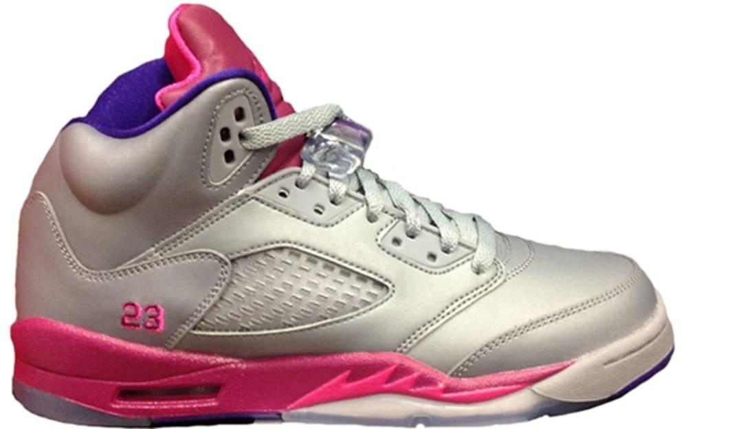 0f057429fc33 Girls Air Jordan 5 Retro GS Cement Grey Pink Foil