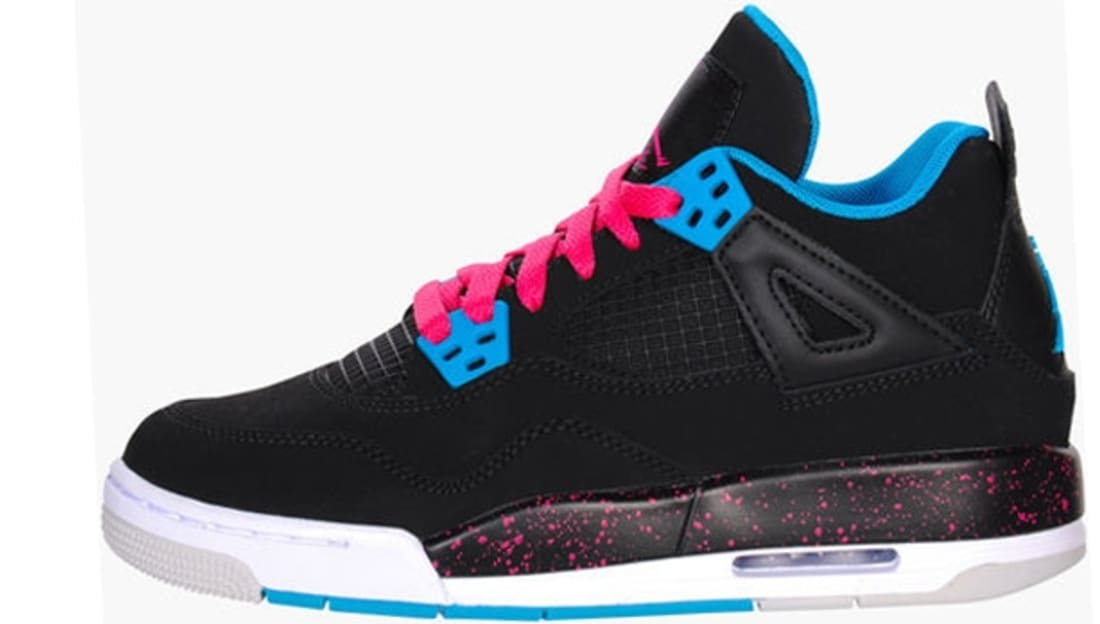 Girls Air Jordan 4 Retro GS Black/Vivid Pink-Dynamic Blue