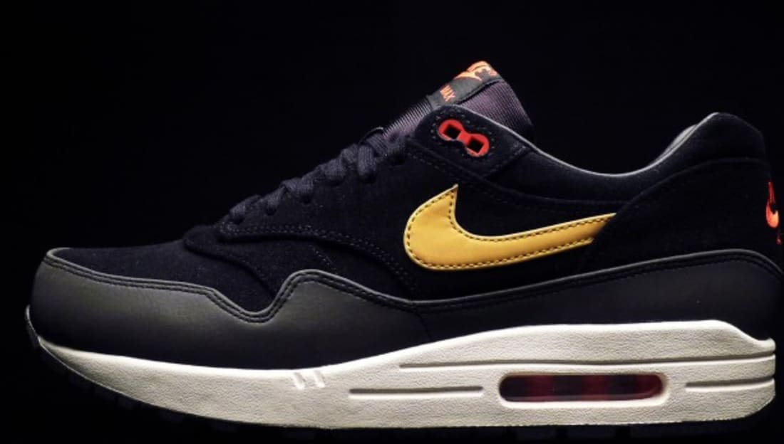 sports shoes efdde e72c2 Nike Air Max 1 Premium Black Metallic Gold-Hyper Red-Sail