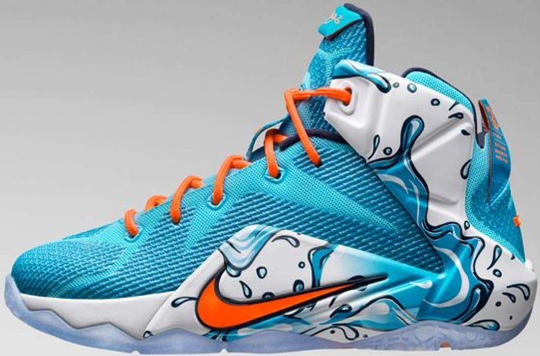 Nike LeBron 12 GS Clearwater/Blue Lagoon-Midnight Navy-Total Orange