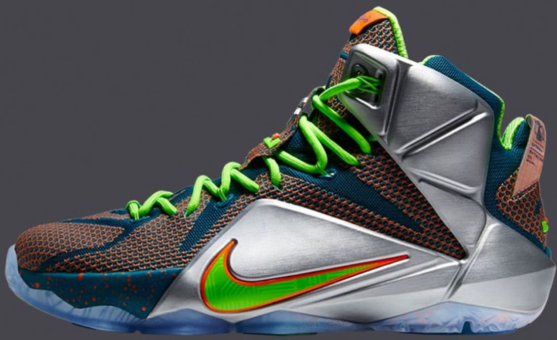 separation shoes 4a3ae b044f Nike LeBron 12 Premium Reflective Blue Total Crimson-Electric Green-Metallic  Silver