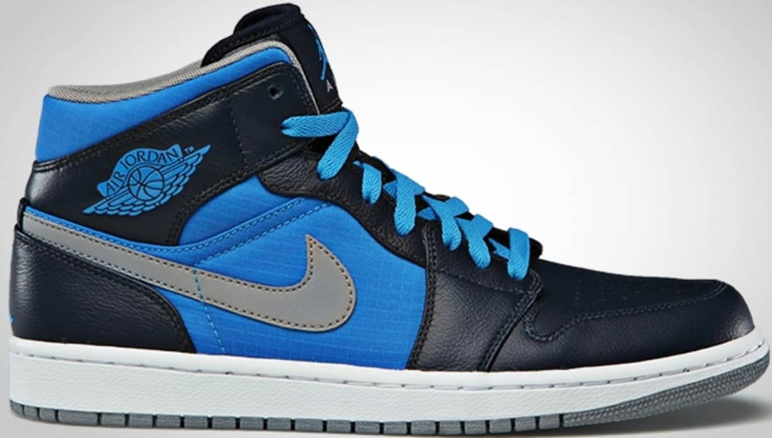 Air Jordan 1 Phat Mid Obsidian/Stealth-Photo Blue-White