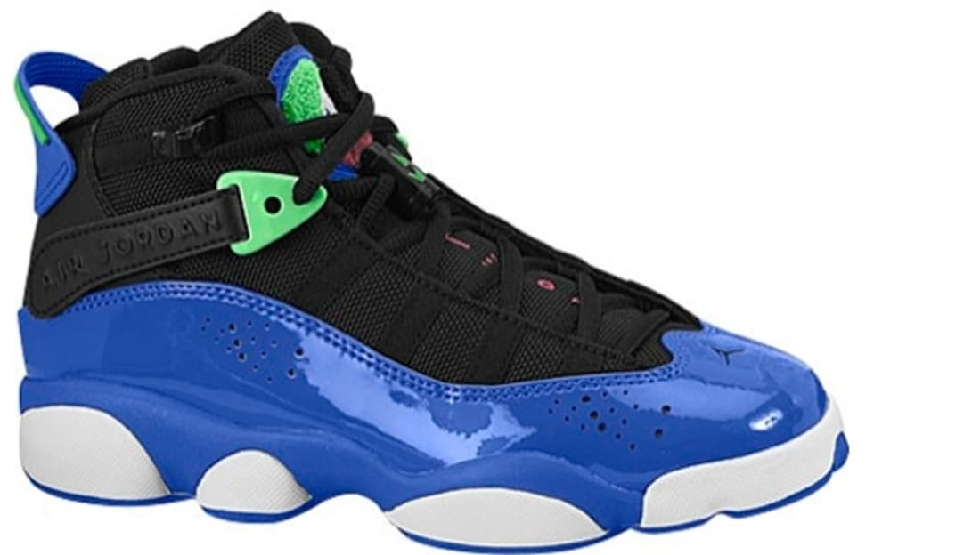 Jordan 6 Rings Girls Black/White-Game Royal-Light Lucid Green