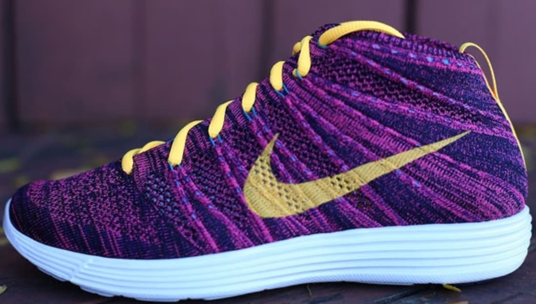 info for 99ead 4c145 Nike Lunar Flyknit Chukka Black Laser Orange-Grand Purple-Neo Turquoise-Pink