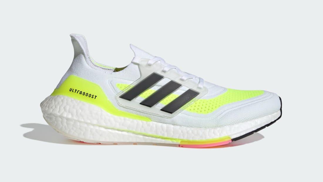 Adidas Ultra Boost 21 Cloud White/Core Black/Solar Yellow