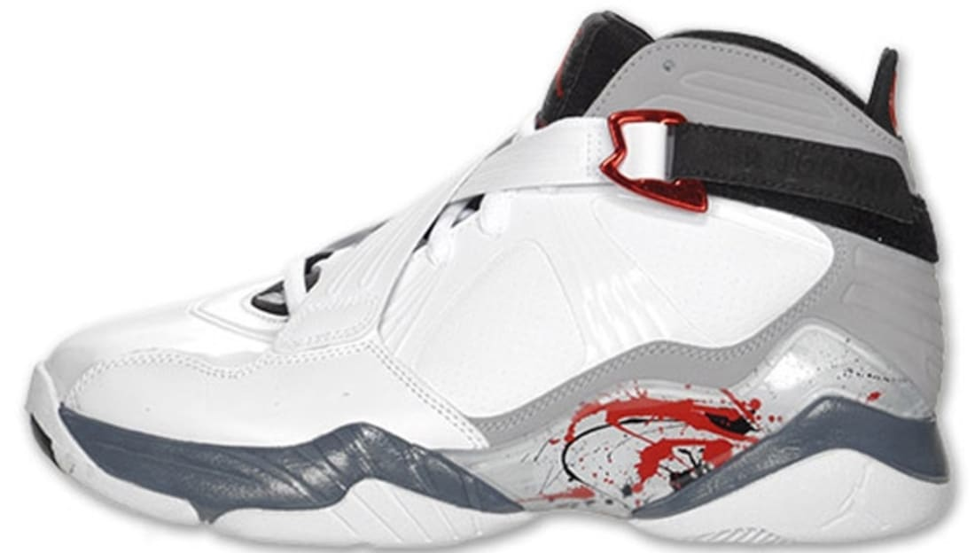 Air Jordan 8.0 White/Varsity Red-Neutral Grey-Flint Grey