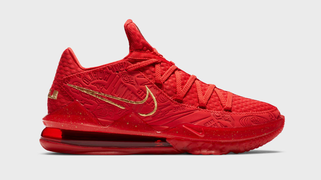 Titan x Nike LeBron 17 Low University Red/Metallic Gold