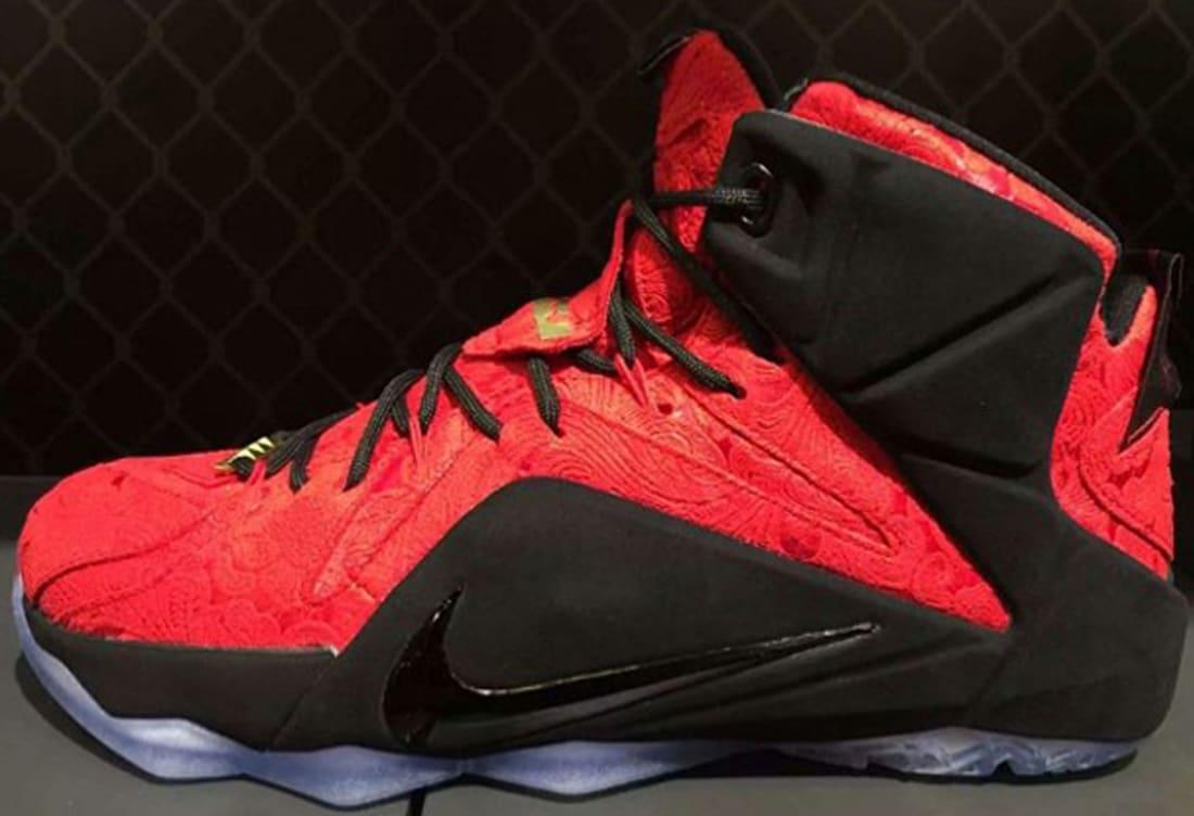 Nike LeBron 12 EXT QS University Red/University Red-Black-Metallic Gold