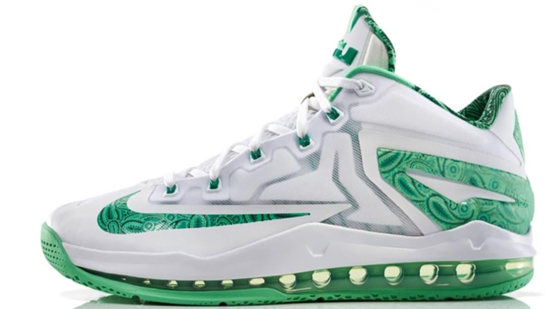 big sale e2531 9a684 Nike LeBron 11 Low White/Light Lucid Green-Metallic Silver ...