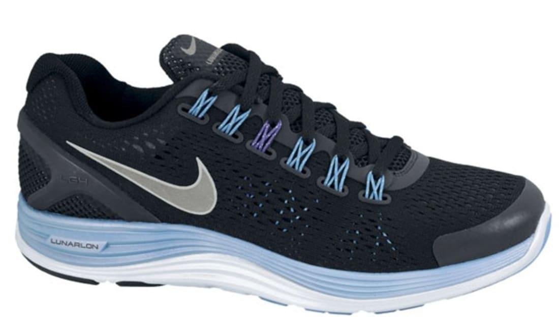 64d193cb2863 Nike · Nike Running · Nike LunarGlide+ 4. Nike Lunarglide+ 4 Premium  Women s Black Reflective Silver-Blue ...