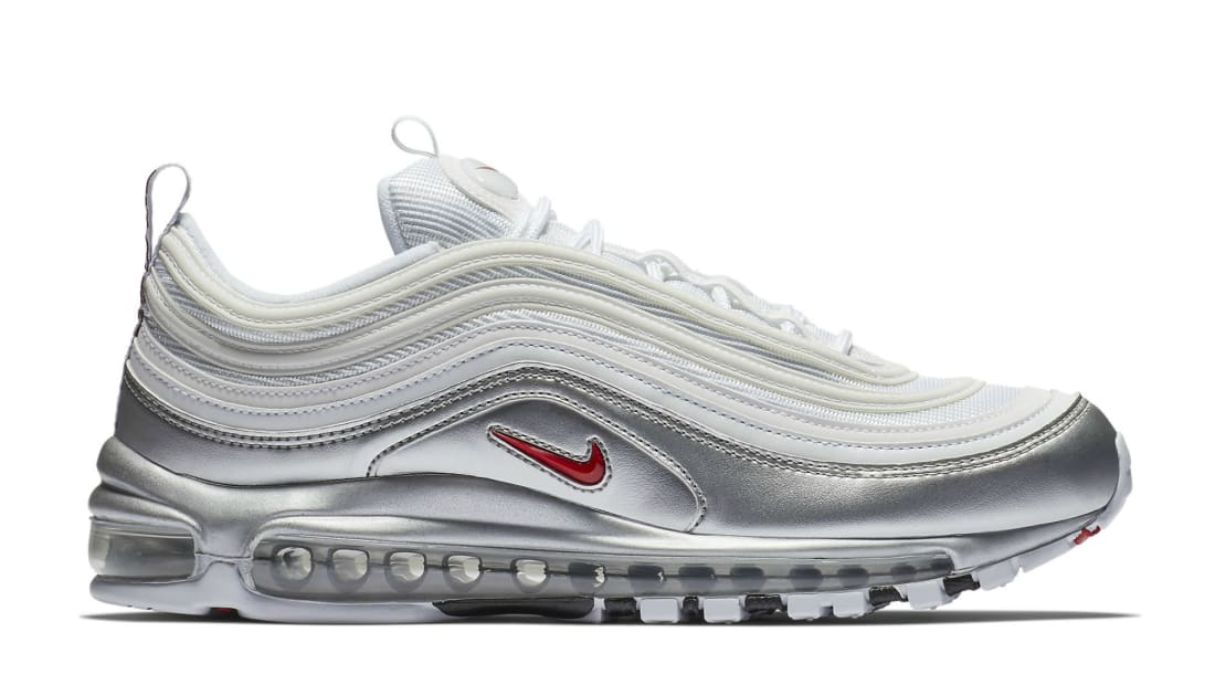 Nike Air Max 97 Qs White Varsity Red Metallic Silver Black Nike Sole Collector