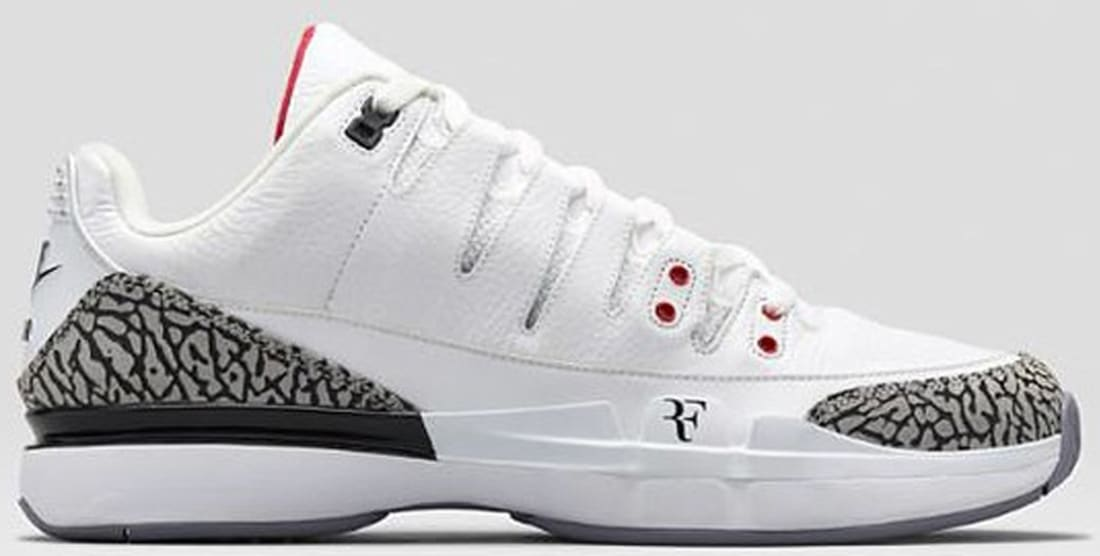 7d4240ca3fb02 Nike Zoom Vapor AJ3 White Fire Red-Cement Grey