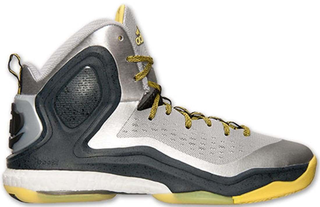 4fb078bb855 adidas D Rose 5 Boost Metallic Silver Yellow-Black
