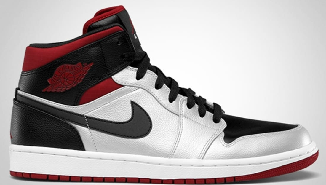 Air Jordan 1 Phat Mid Metallic Platium/Black-Gym Red