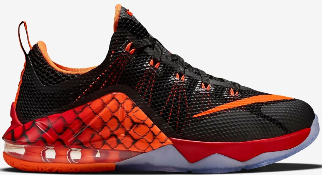 reputable site 849e7 566c9 Nike LeBron 12 Low GS Black Black-Challenge Red-Total Orange