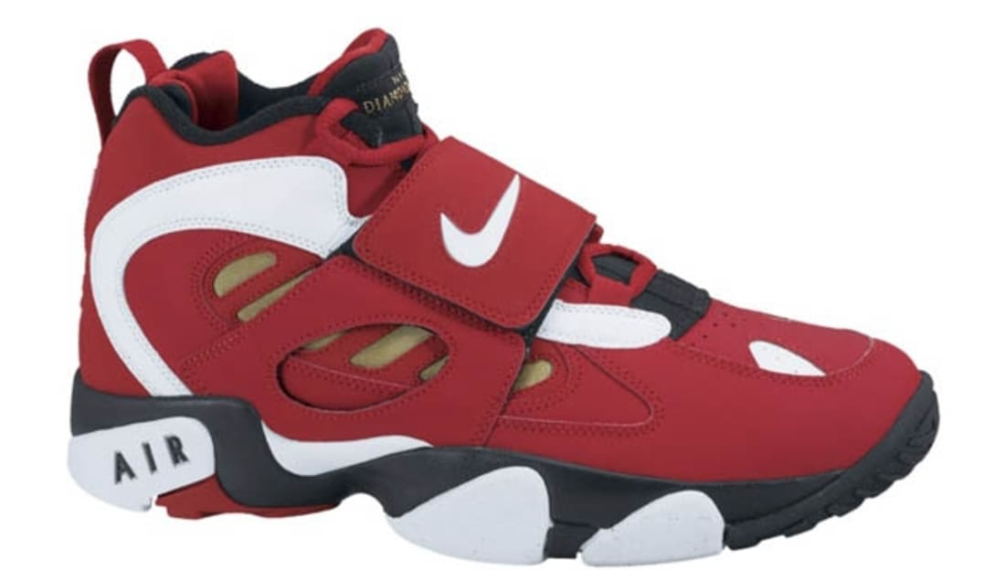 0d4627235cdf Nike · Nike Deion · Nike Air Diamond Turf 2 (II). Nike Air Diamond Turf II  Varsity Red White-Metallic Gold