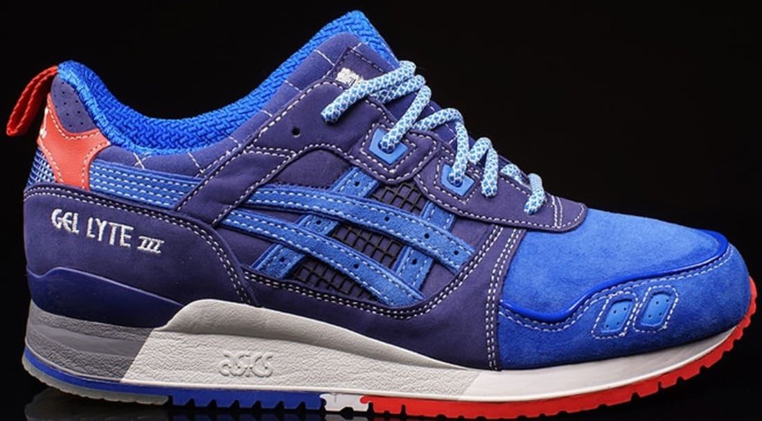 red white and blue asics