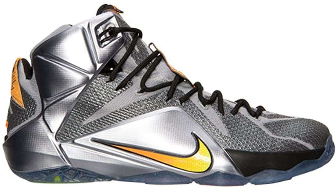 brand new eaeaa 49a7c Nike LeBron 12 Wolf Grey Bright Citrus-Black