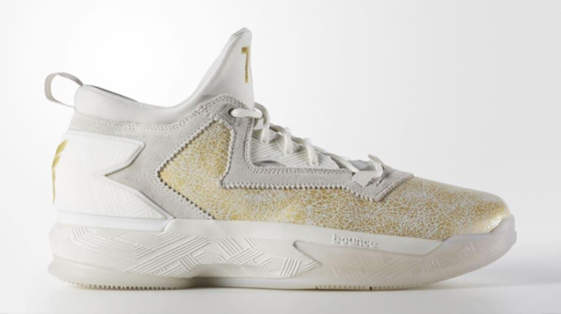 adidas D Lillard 2 Running White/Gold Metallic-Grey