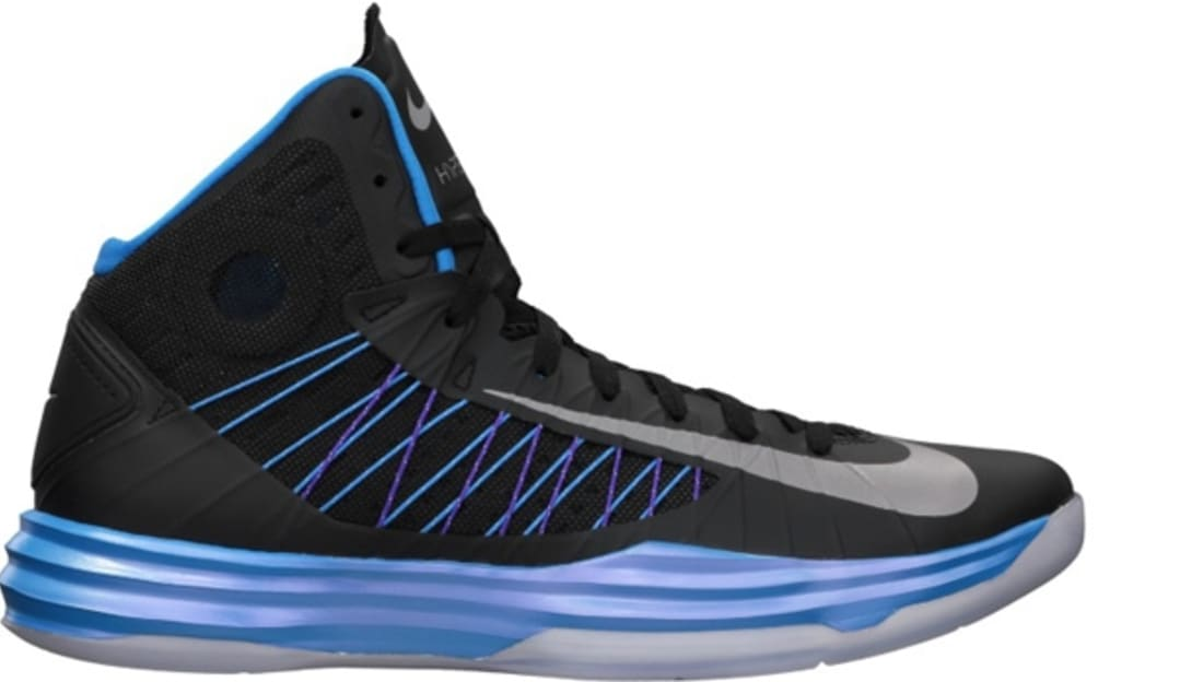 uk availability c781c 82744 Nike Lunar Hyperdunk 2012+ Women s Black Metallic Silver-Blue Glow